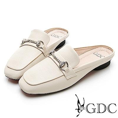 GDC-氣質典雅質感真皮水鑽方頭拖鞋-米杏色