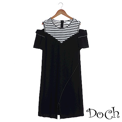 【Doch】時尚露肩假兩件式洋裝(共一色)