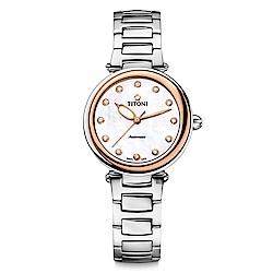 TITONI 梅花錶 炫美時尚之約械錶女錶-玫塊框x珍珠貝x銀/33.5mm