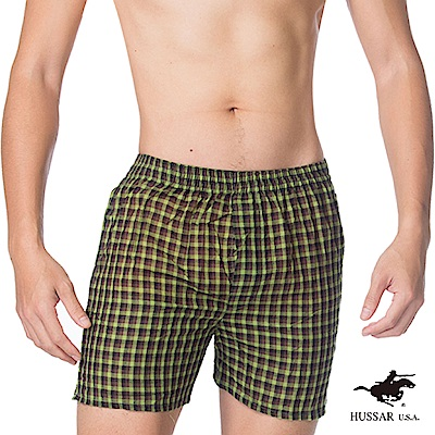 HUSSAR  歐風格紋純棉平口褲(回饋12件組)