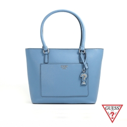 GUESS-女包-簡約素面手提托特包-藍