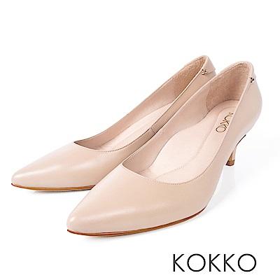 KOKKO -曼哈頓日落尖頭真皮高跟鞋-奶酒杏