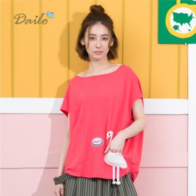 【Dailo】紅鶴造型口袋寬鬆-上衣(二色)