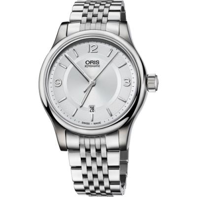 Oris 豪利時 Classic Date 都會時尚機械錶-銀/42mm