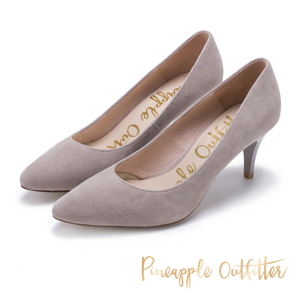 Pineapple Outfitter 簡約風尚 素面尖頭高跟鞋-絨灰