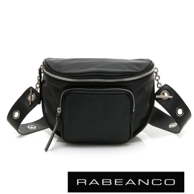 RABEANCO INA牛皮T型鏈條寬背帶斜背/腰包(大)黑