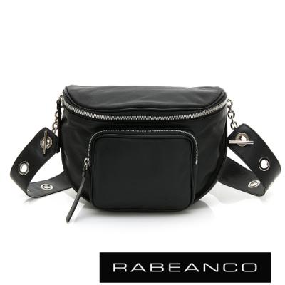 RABEANCO INA羊皮T型鏈條寬背帶斜背/腰包(大) 黑