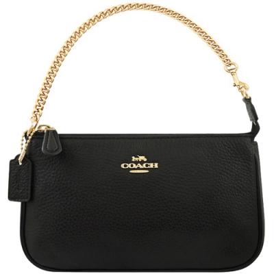 COACH 黑色荔枝紋皮革鍊帶手提包