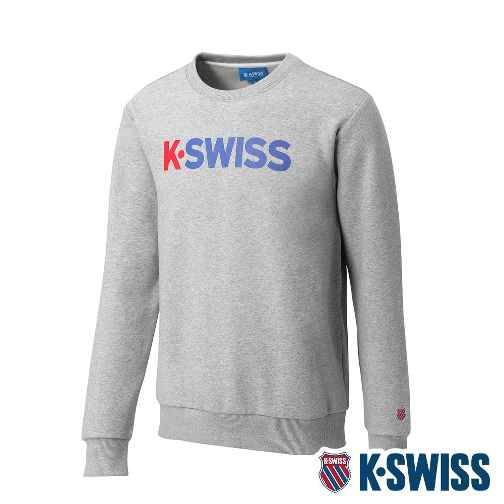 K-SWISS 2 Tone KS Logo 刷毛圓領上衣-女-淺灰