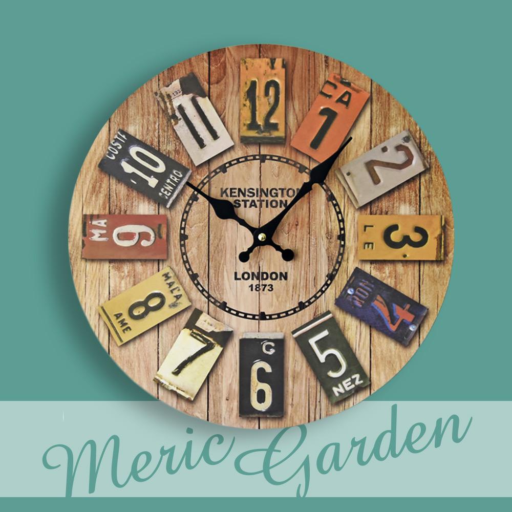 【Meric Garden】風格仿舊裝飾壁掛式時鐘/壁鐘/掛鐘(仿舊鐵牌)