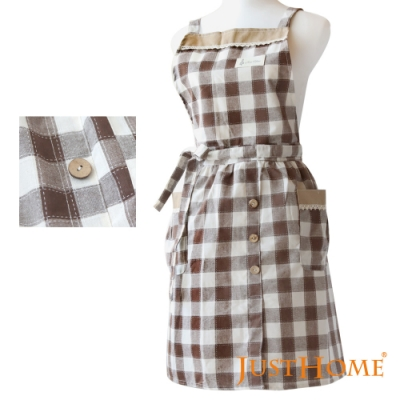 Just Home愛麗絲經典格紋圍裙(69x77cm)廚房烹飪及居家好幫手