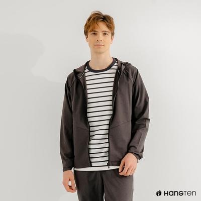 Hang Ten-男裝-恆溫多功能-四面彈防輕潑水連帽連帽外套-深灰色