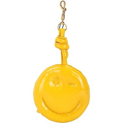 ANYA HINDMARCH Chubby 黃色泡泡皮革微笑吊飾