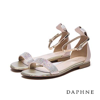 達芙妮DAPHNE涼鞋-立體緞帶造型水鑽一字平底涼鞋-金