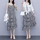 百搭白罩衫細肩帶小雛菊蛋糕裙洋裝XL-5XL-KVOLL product thumbnail 1