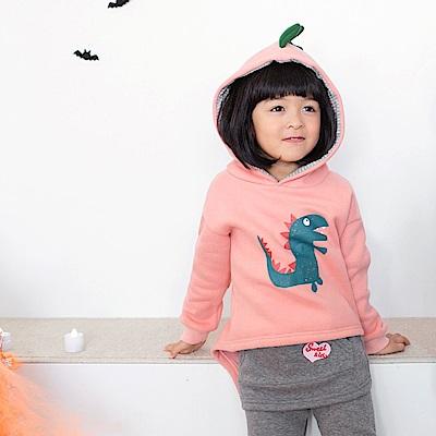 親子款~厚磨毛趣味恐龍造型棉質上衣-OB大尺碼