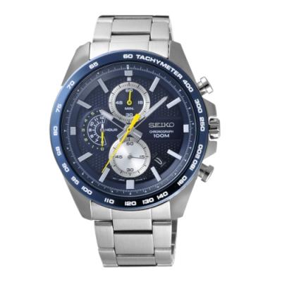 SEIKO 商務型男時尚三眼腕錶-銀X藍(SSB259P1)/44mm
