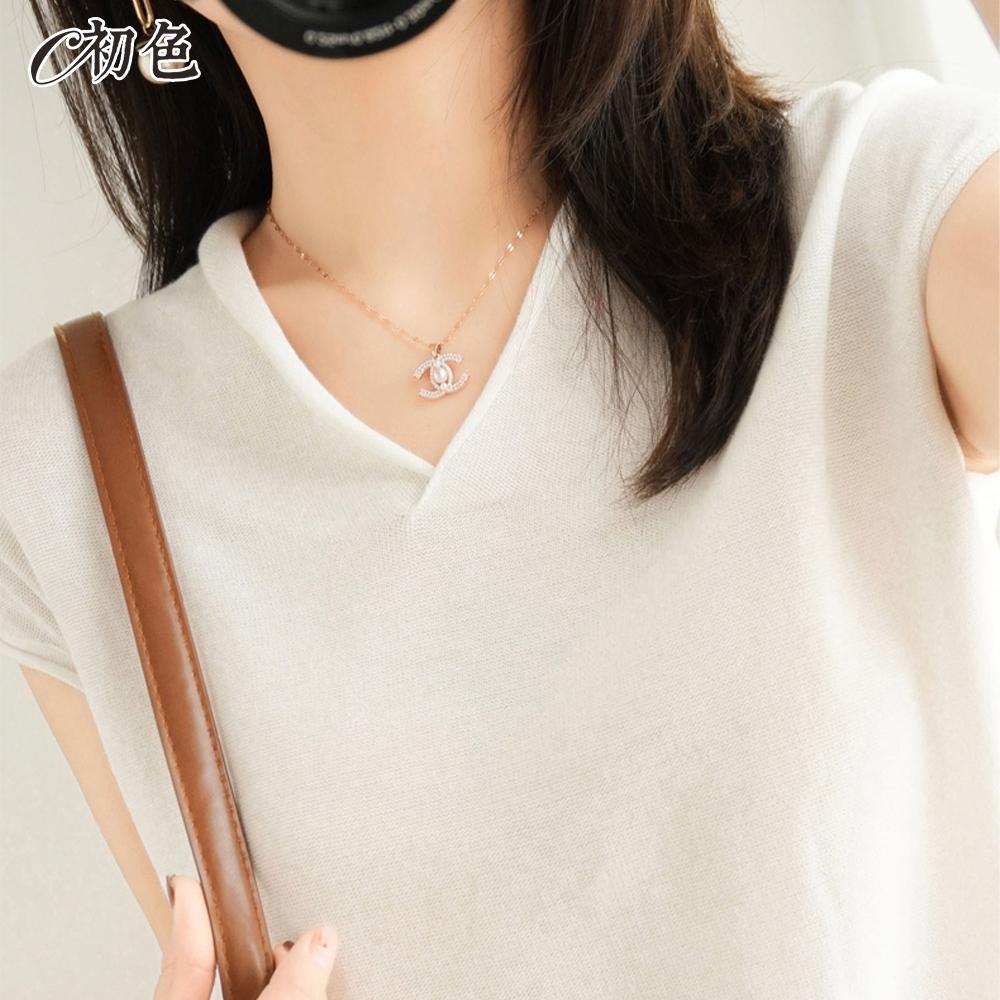 初色  V領純色針織衫-共9色-(M-2XL可選) product image 1