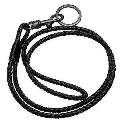 BOTTEGA VENETA 經典編織小羊皮吊繩鑰匙釦(長-黑X霧銀)