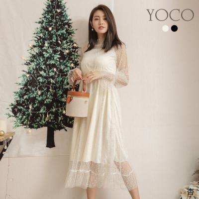 東京著衣-YOCO 甜心必備透膚蕾絲縮腰氣質洋裝-S.M.L