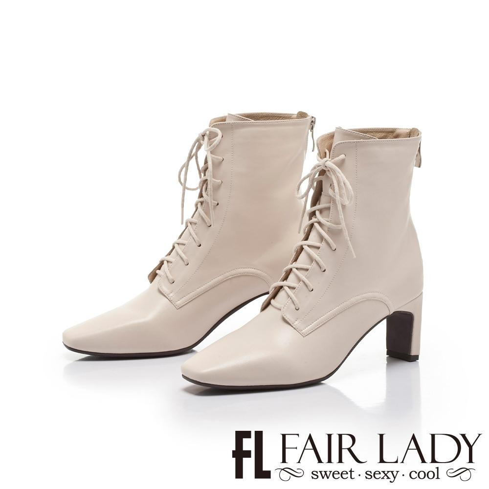 FAIR LADY纖腿對策.拼接異材後拉鍊綁帶扁跟靴 米白