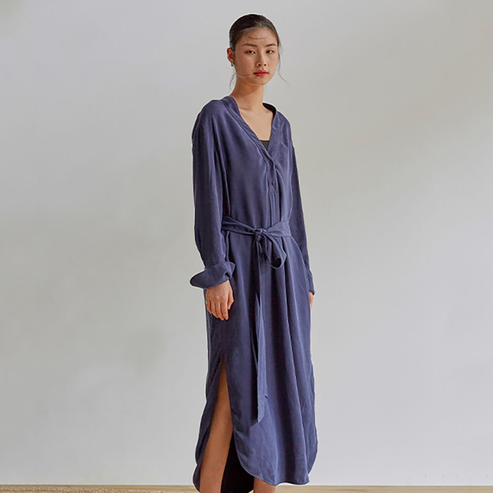 旅途原品_絲繭_原創設計銅氨絲繭型開衩連衣裙-土紅/藏藍