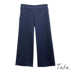 後鬆緊百搭條紋寬褲 TATA