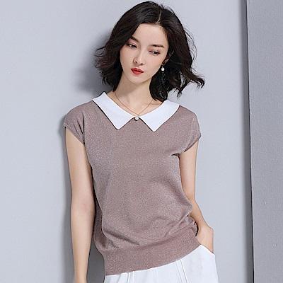 綻放  亮絲娃娃領針織衫-共3色(M-XL可選)