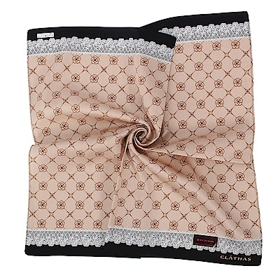 CLATHAS經典山茶花LOGO蕾絲飾邊帕巾-卡其色 @ Y!購物