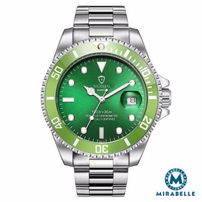 Mirabelle至尊顯時 日期放大不鏽鋼男錶 銀帶全綠面43mm