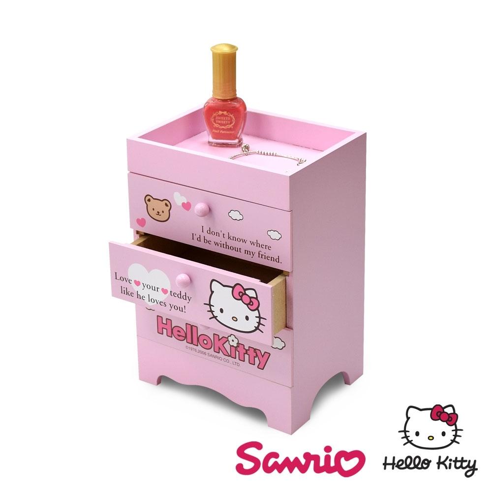 CY本舖 Hello Kitty 凱蒂貓 桌上三層收納盒 抽屜盒 置物盒 美妝收納 桌上收納