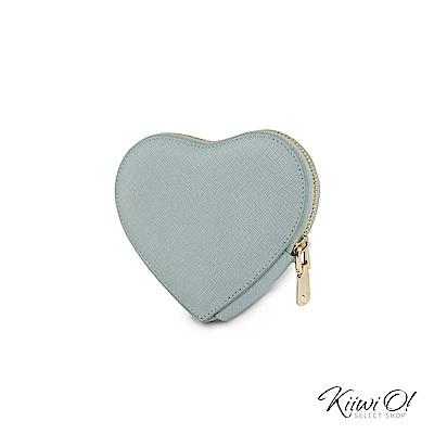Kiiwi O! 真皮十字紋心型鑰匙包 Heart 淺藍