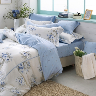 OLIVIA Kathleen 藍 標準雙人床包歐式枕套三件組 棉天絲系列 台灣製