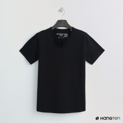 Hang Ten - 女裝 - 有機棉-簡約小開襟T桖 - 黑