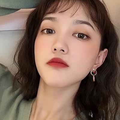 梨花HaNA 韓國925銀紅寶石不對稱星月時光耳環