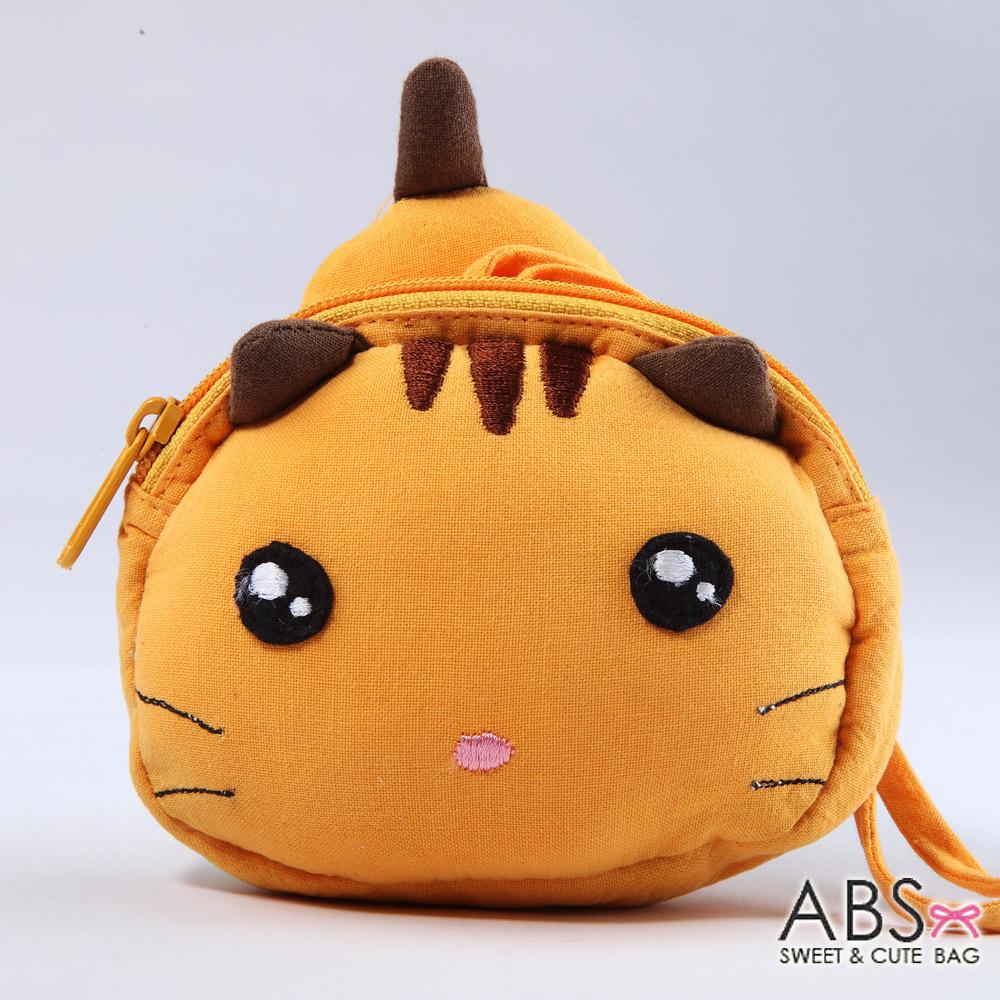 ABS貝斯貓 饅頭貓 可愛拼布拉鏈零錢包(淘氣黃)88-124