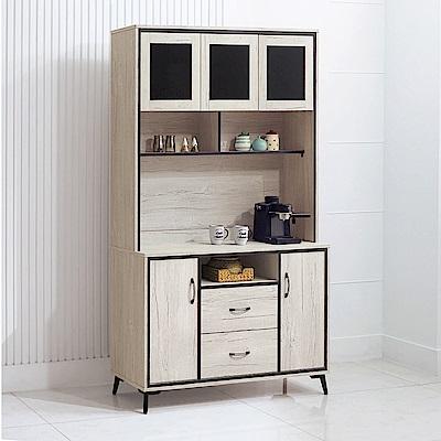 Boden-克拉4尺簡約風收納餐櫃/碗盤櫃(全組)-121x40x200cm