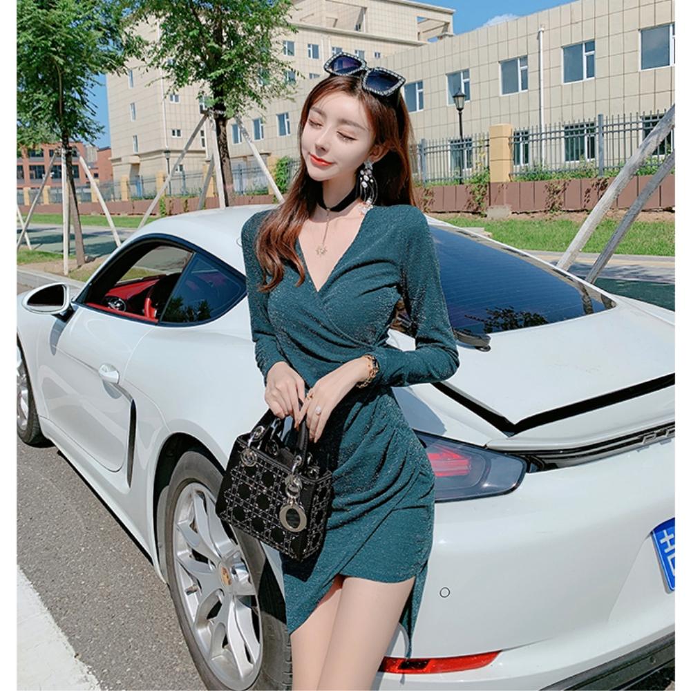 DABI 韓國風時尚V領收腰不規則包臀亮絲長袖洋裝