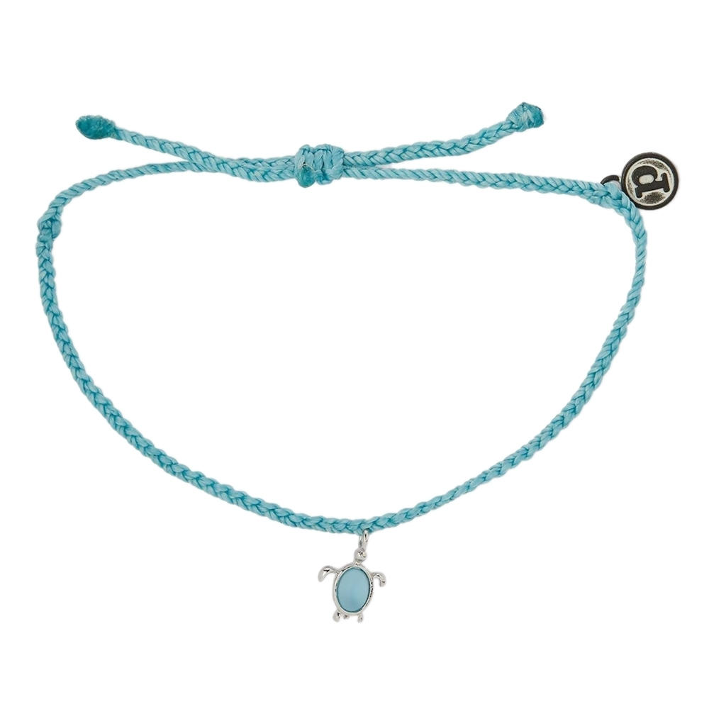 Pura Vida 美國手工 慈善系列 保護海龜銀色 水藍色蠟線衝浪手鍊手環
