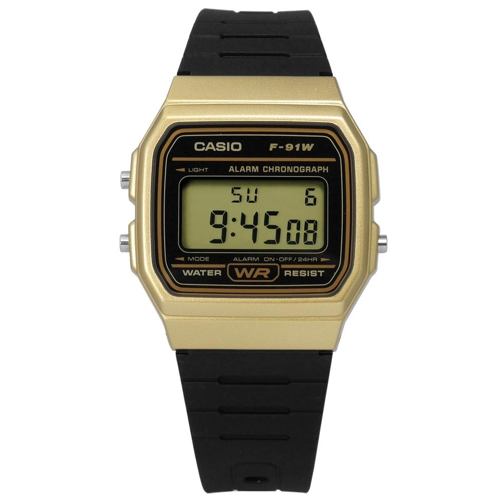 CASIO 卡西歐 方型 復刻 計時 電子 手錶 黑金x黑 F-91WM-9A 32mm