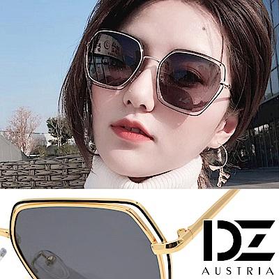 DZ 層次雙線方菱框 抗UV 防曬偏光太陽眼鏡墨鏡(黑灰片)