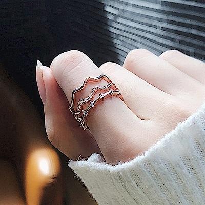 梨花HaNA 韓國三層曲線鑽飾層次戒指 (玫瑰金)
