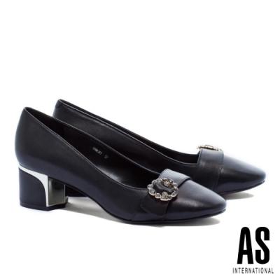 高跟鞋 AS 內斂素雅灰鑽圓釦全真皮方頭粗高跟鞋-黑