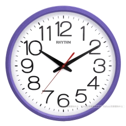 RHYTHM日本麗聲 經典簡約大字體靜音掛鐘(優雅紫)/36cm