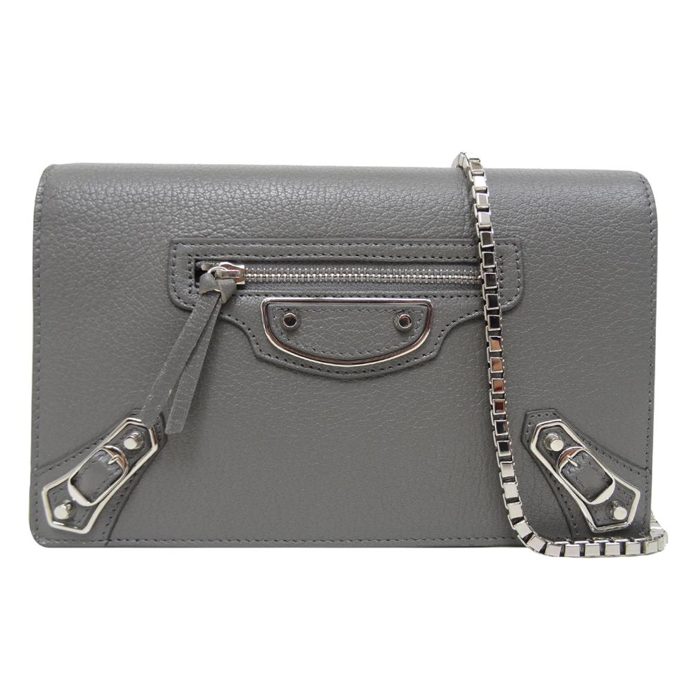 BALENCIAGA 銀釦羊皮銀框WOC手拿/鏈帶包(灰色)BALENCIAGA