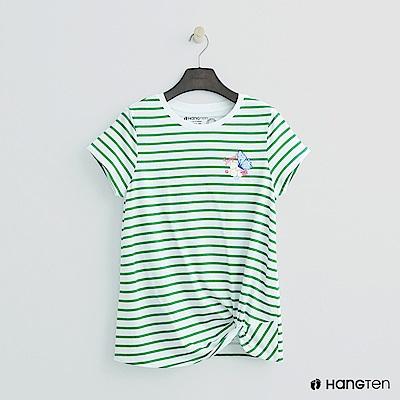 Hang Ten - 女裝 - 扭結下擺條紋T恤 - 綠條