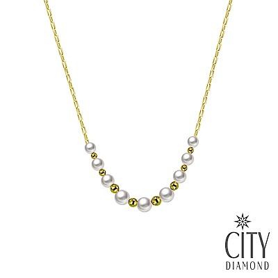 City Diamond引雅【東京Yuki系列】18K日本BabyAKOYA珍珠黃K套鍊