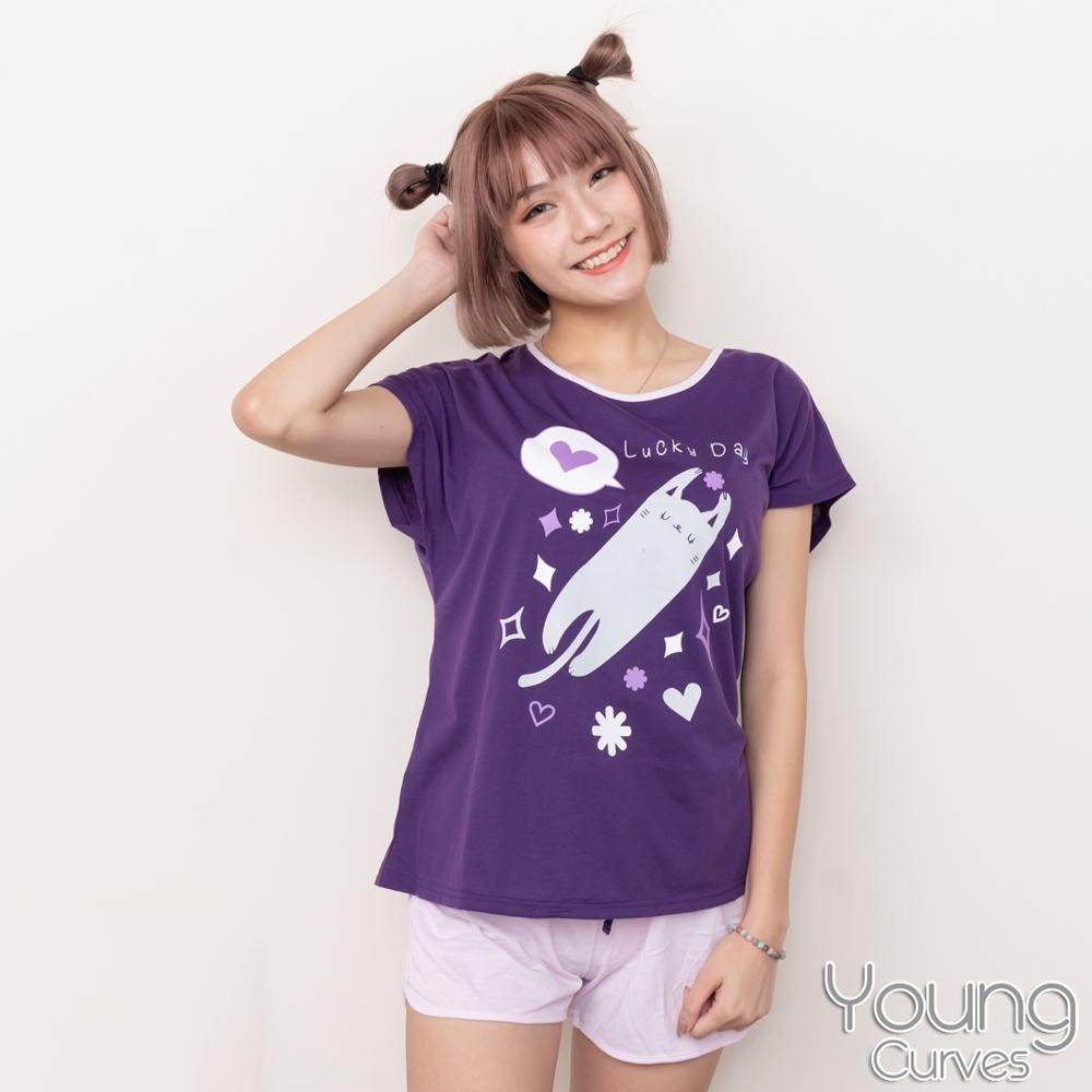睡衣 彈性棉質短袖兩件式睡衣(C01-100731搞怪喵星人) Young Curves