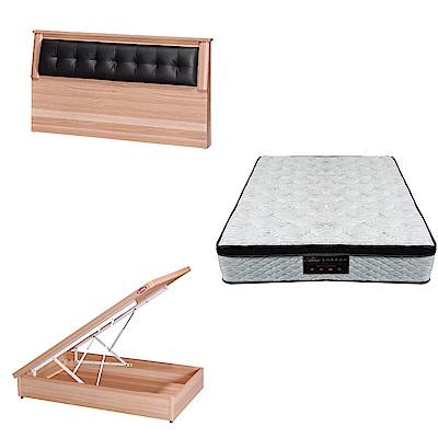 綠活居 亞凱3.5尺單人床台三式組合(床頭片+後掀床底+正三線涼感獨立筒)五色可選