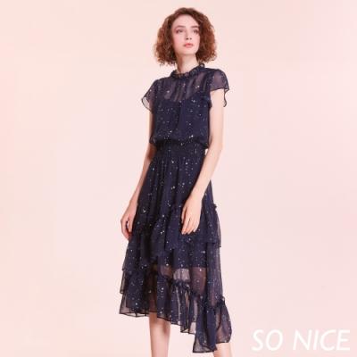 SO NICE浪漫星星雪紡造型洋裝